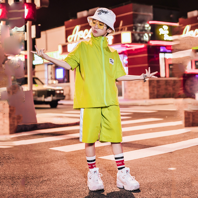 New Children'S Street Dance Clothes For Boys Hip Hop Jazz Costumes Kids Hiphop Clothing Summer T Shirt Shorts Tide Suit  DQS2141