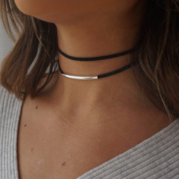 Bending tube Velvet Choker Double layer Style Torque Black Short Leather Necklace