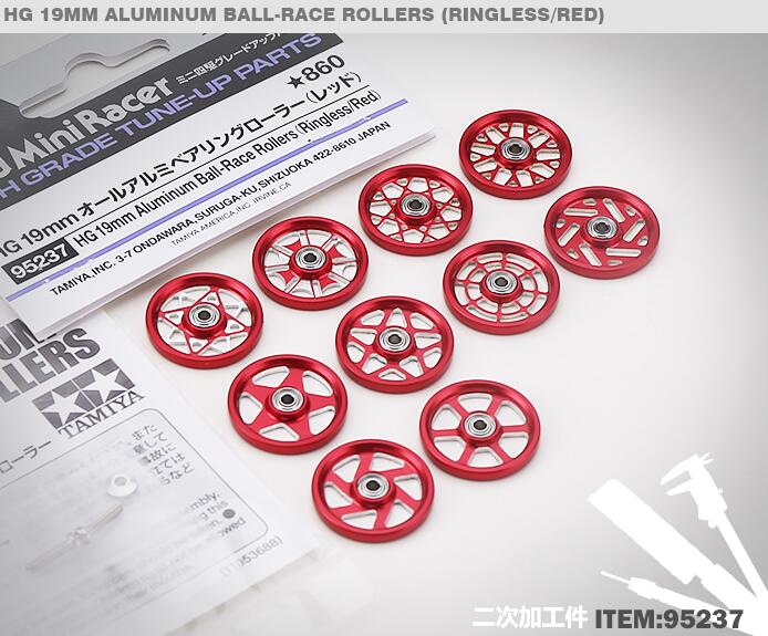 1 Pair HG 19mm CNC Aluminum Ball-Race Rollers(Ringless/Red) 95237 for Tamiya Mini 4WD Racing Car Model rfdtygr hg professional tool for tamiya mini 4wd auldey mini 4wd mini 4wd 1set lot