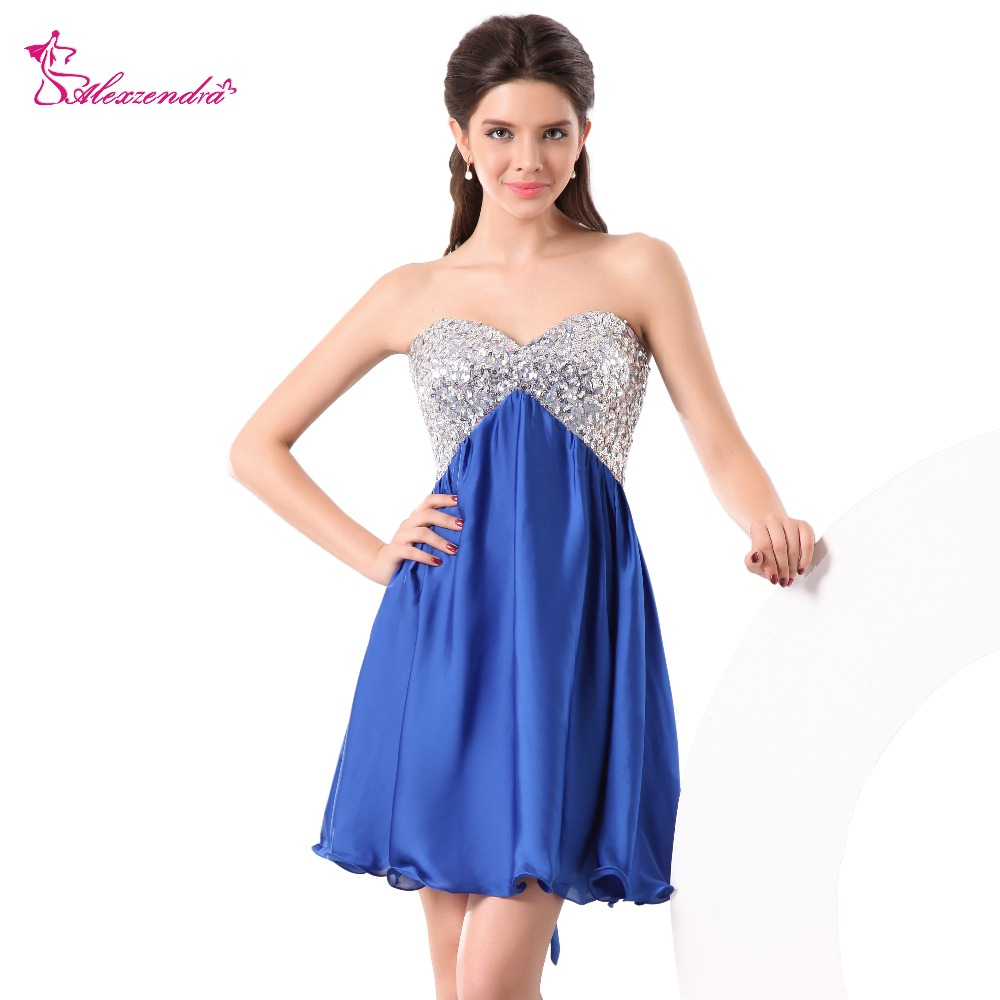 Alexzendra Simple Royal Blue Mini   Prom     Dresses   Sweetheart Sequined Short Party   Dresses   Plus Size