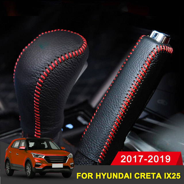 Echtes Leder Abdeckungen Für Hyundai creta ix25 2017 2019 Zubehör Auto handbremse Getriebe Kopf Schaltknauf Abdeckung Getriebe Shift abdeckung