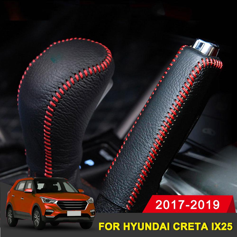 Genuine Leather Covers For Hyundai Creta Ix25 2017-2019 Accessories Car Handbrake Gear Head Shift Knob Cover Gear Shift Cover