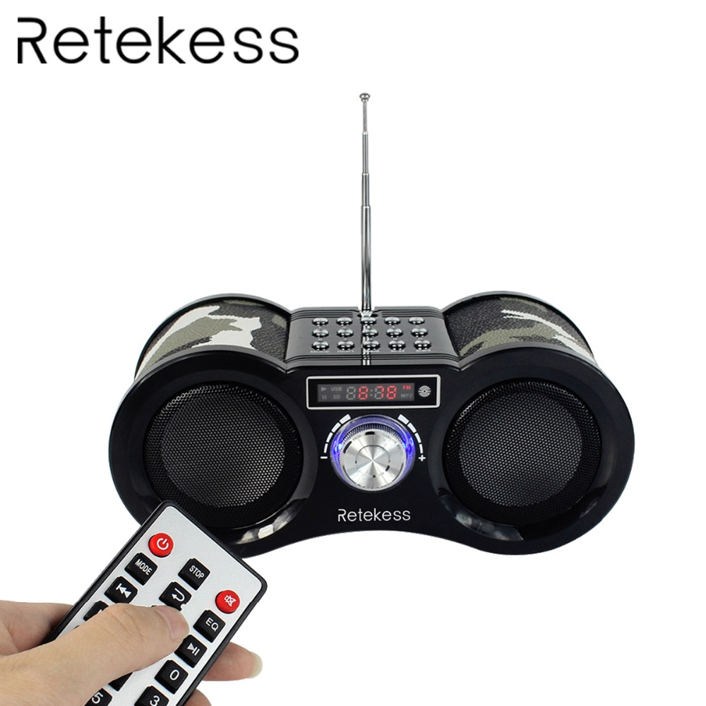 RETEKESS V113 Radio Penerima FM Stereo Portable Transistor Sokongan Mp3 Music Player Speaker Micro SD IF Card AUX Remote F9203M