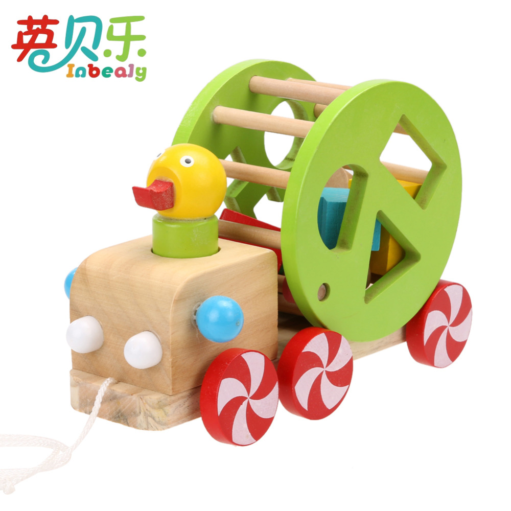 Wooden Duckling Trailer Cartoon Animal Pull Along the Cart Geometry Building Set Educational Vehicles Blocks Toys Children Gift