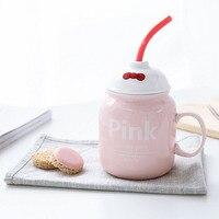 Mug gốm sáng tạo với nắp spoon đáng yêu cốc cà phê vui Rơm gốm cốc cốc cốc du lịch Món Quà của đứa trẻ 400 ml