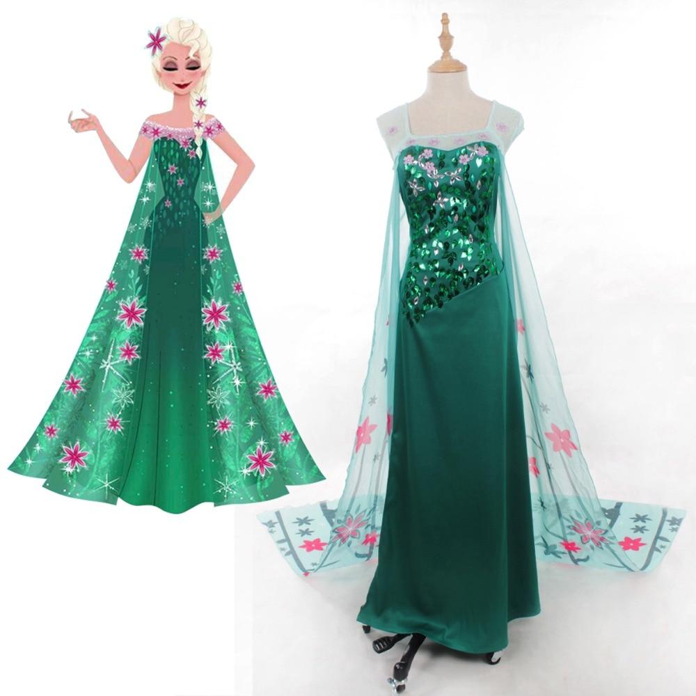Fever Elsa Snow Queen Princess Cosplay Costume Adult Women Handmade Elsa Dress Fancy Summer Dress Halloween