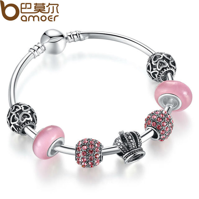 BAMOER Silver Charm Bracelet Bangle with Open Your Heart & Crown Pink Murano Glass Beads Bracelet PA3070