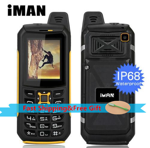 IMAN S2 IP68 Waterproof Outdoor Mobile Phone 2MP Flashlight Loud Speaker FM Dual Sim 2200mAH 2G GSM CellPhone Russia keyboard feature phone