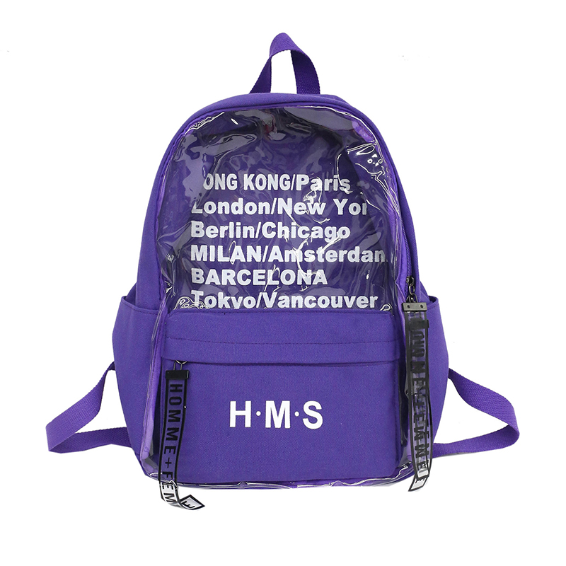 Women's Backpack Korean Style <font><b>Canvas</b></font> <font><b>Bag</b></font> Youth Transparent Girl Harajuku Travel Big <font><b>Bag</b></font> <font><b>Mochila</b></font> Feminina <font><b>Escolar</b></font> Hot Sale image
