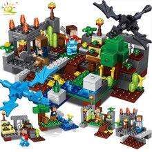 4 in 1 Town group Compatible Legoed Minecraft city Building Block dragon Steve Alex figures Bricks
