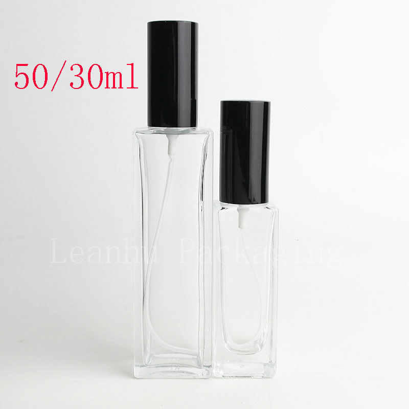 10ml 30ml 50ml Square Perfumes Mist Sprayer Glass Container Clear Perfume Makeup Setting Spray Pump Glass Atomizer Bottles