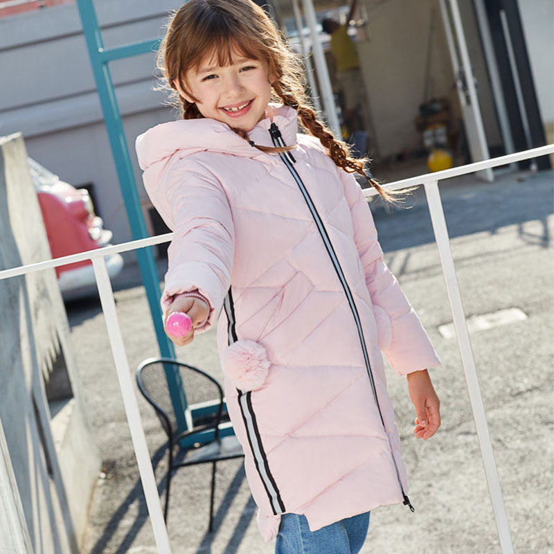 Christmas Long Hooded Jacket Girl 90% White Duck Down Coats Kids Tops Teenage Girls Winter Jackets And Coats Children Outerwears fashion girl winter down jackets coats warm baby girl 100% thick duck down kids jacket children outerwears for cold winter b332