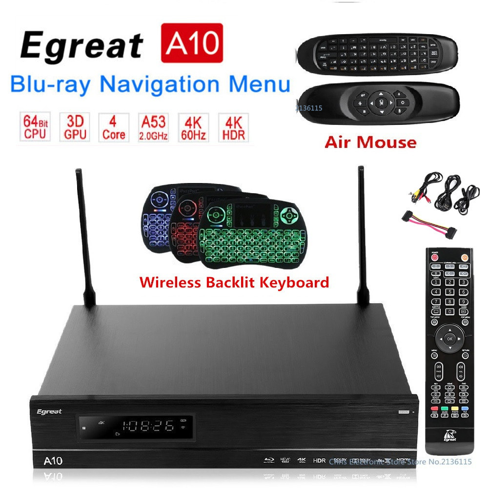 Original Egreat A10 TV BOX Hi3798C V200 CPU Android 5.1.1 2G 16G WIFI LAN HDR10 Blu-ray 3D Bluetooth 4.0 Media Player HDMI 2.0 semyon bychkov giuseppe verdi otello blu ray
