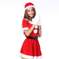 Sweet Miss Santa Claus Christmas Cosplay Costume For Adult Female Christmas Party Girls Red Dress With