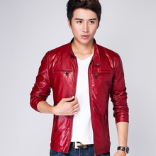 2017 Autumn Men's Casual Jacket Jacket Men, High-end Quality Brand Men's Leather Jacket , Men's Slim Jacket S-3XL Red Black Blue