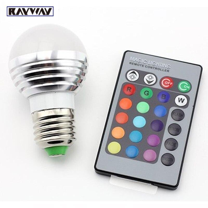 Rayway 3w rgb bulb e14 led light bulb lamp spotlight ac85 265v ir remote control 16