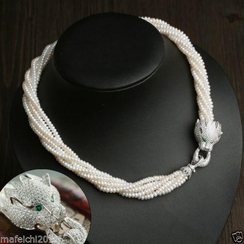 Magnifique collier de perles blanches AAA Akoya avec fermoir en argent