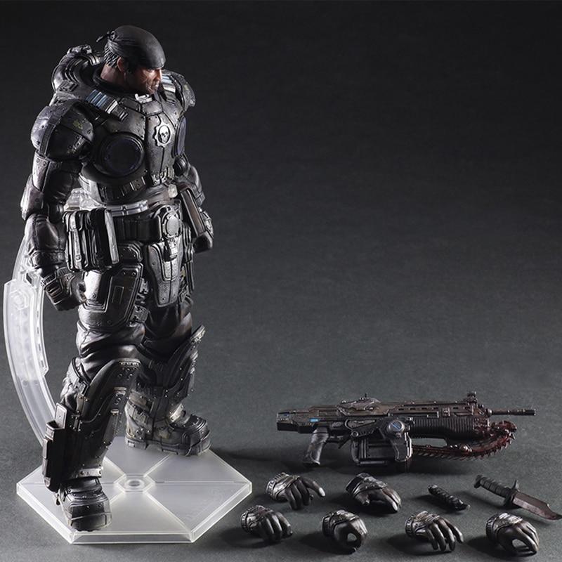 Elsadou Play Arts Kai PA Marcus Fenix Game Gears of War 3 War Machine Action Figure Collection Model Toy 26cm