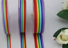 (15 yards/lot) DIY polyester rainbow stripe Ribbon double face 7 colors, used for hair string, festival, Birthday, free shipping