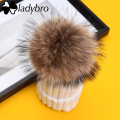 Ladybro 2016 Brand Warm Hats Real Fur Pom Poms Skullies Beanies Outdoor Knitted Winter Velvet Hat Cap Snow Hats thick female cap