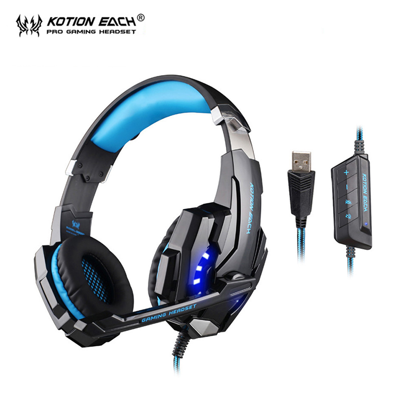 KOTION EACH G9000 USB 7.1 surround headphones gaming headset gamer with microphone for pc computer