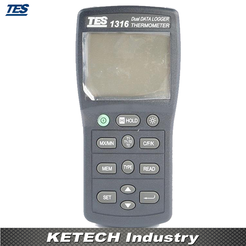 7500 DataLogging Capacity Dual Input Function Industrial Thermocouple Thermometer TES1316