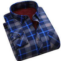 2018 men's long sleeved checked shirts men's shirts thickened men's warm shirts double sided velvet plaid dress shirts
