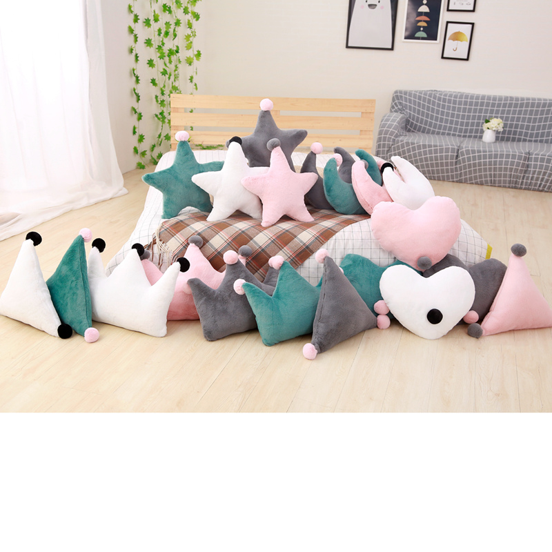 45cm New Sofa Cushion Room Decoration Kids Sleeping Doll Super Plush Pillow Lovely Stuffed Heart Moon Crown Star Shape Toys gold christams tree star heart moon bright cloth doll sofa plush stuffed bed room car decoration toys gift pillow cushion ins
