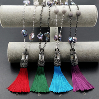 WT NV169 Wholesale Jewelry Micro Pearls Pave Silk Tassels With Pearl Beads Tassels Necklace With Gold