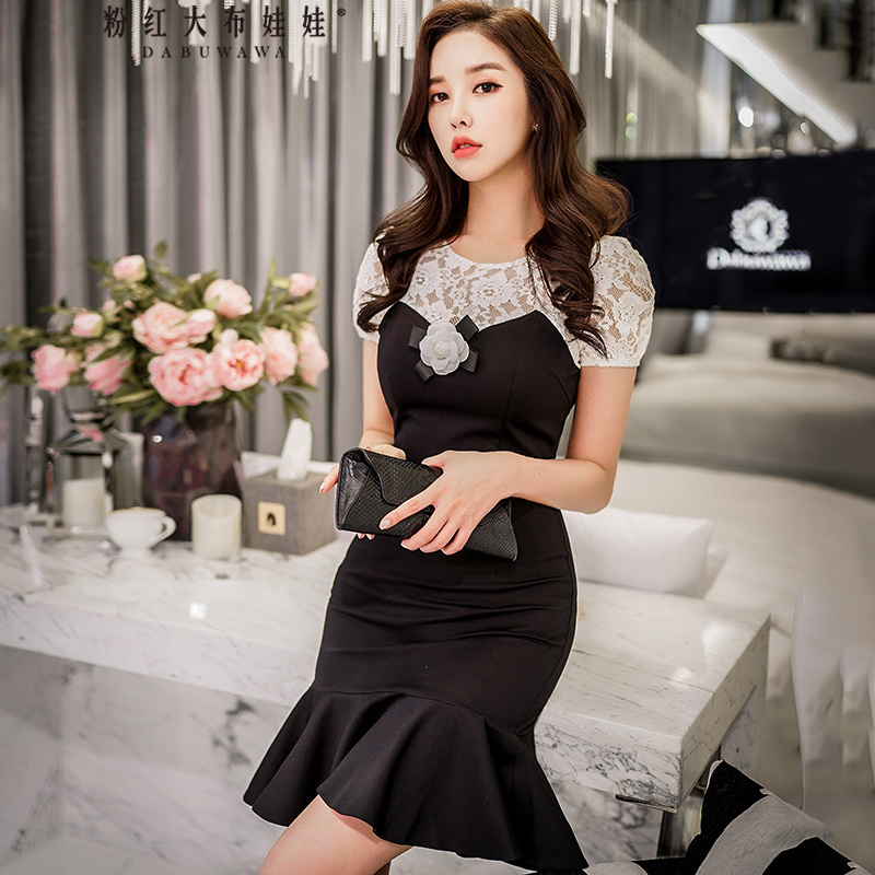original 2018 brand vestido summer short sleeve flower applique black and white sheath mermaid party dresses women wholesale