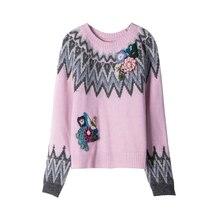 2016 Осень Зима взлетно-посадочной полосы дизайнер высокое качество Женщины Хлопок Длинные рукава Пуловеры О-Образным Вырезом Вязаный Свитер S, M, L, 3 Размер розовый