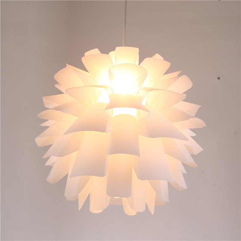 DIY Lily Lotus IQ Puzzle Pendant Lampshade Cafe Restaurant Ceiling Room Decoration LED Hanging Lamp White Lights