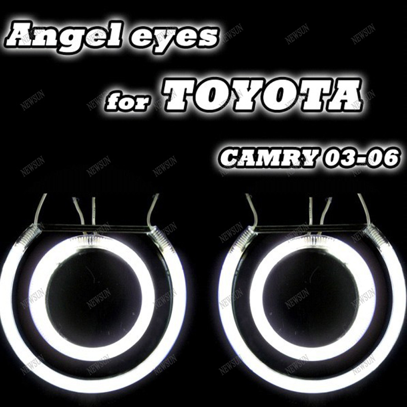 Free shipping 7000k ultra bright CCFL Angel Eyes halo ring kit auto ccfl Lights halo rings for Toyota Camry 03-06 white blue free shipping ccfl angel eyes for bmw e90 e90 non projector halo ring e90 ccfl angeleyes lights