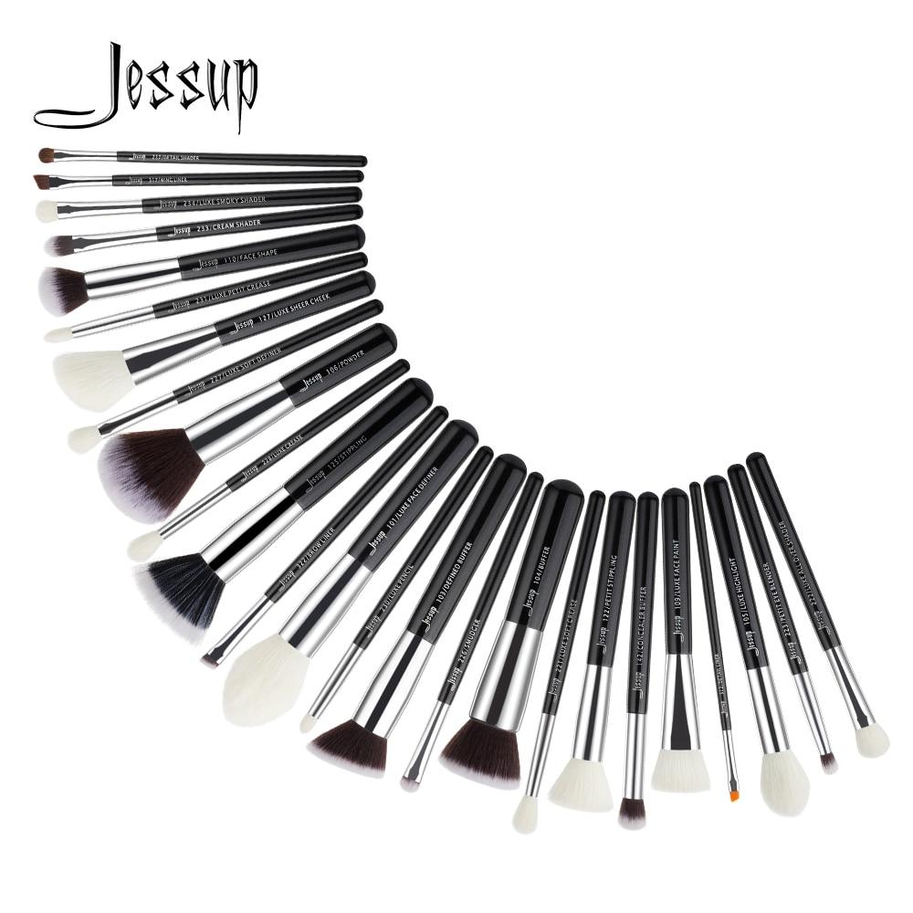 Jessup 25 pcs maquillage brosses Noir/Argent Synthétique-Naturel Cheveux maquiagem profissional completa Fard À Paupières Fondation EyebrowT175