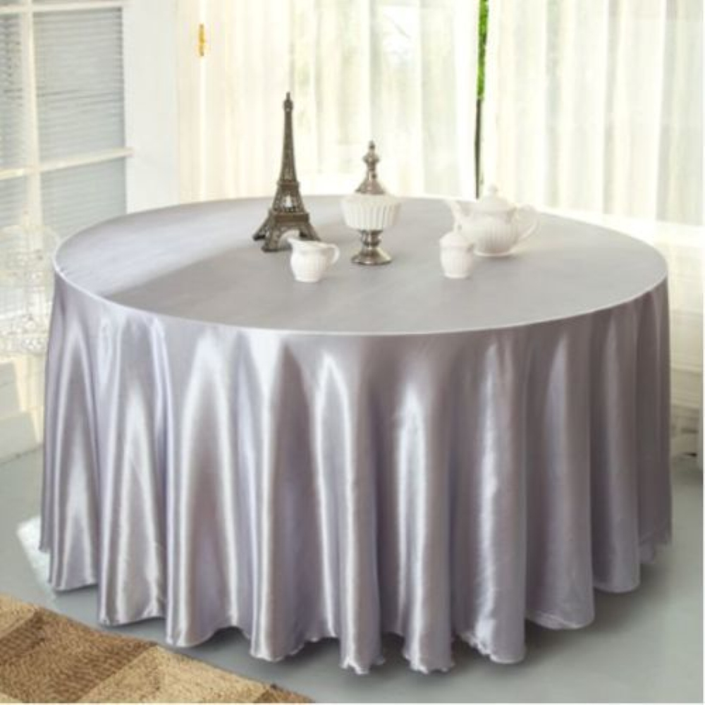 96 inch round tablecloth - 10pcs Pack Silver Color 120 Inch Round Satin Tablecloths Table Cover For Wedding Party Restaurant