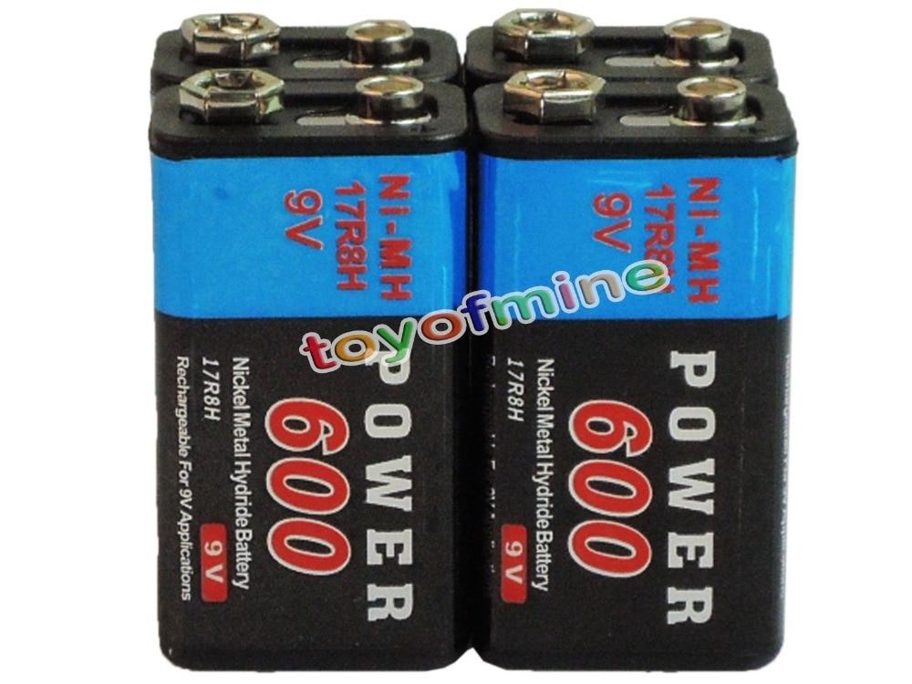 2/4/6/8/10/12/16pcs Durable 9V 9 Volt 600mAh Power Black Ni-Mh Rechargeable Battery PPS block цены