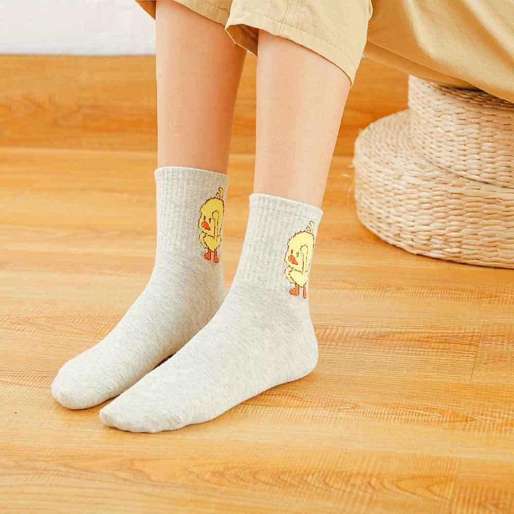 5 色女性のラブリー漫画黄色アヒルの靴下カジュアルレディース原宿漫画降圧ショートソックスかわいい靴下