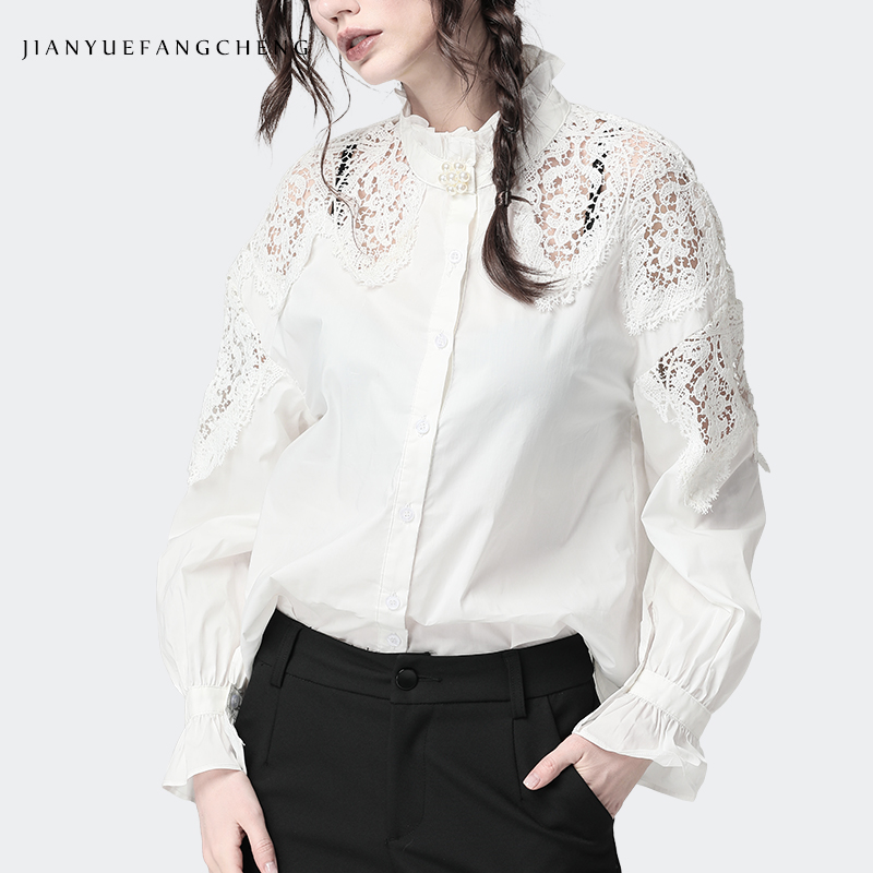 Fashion Women White Blouse Beaded Cotton Top Hollow Out Shoulder Stand Ruffled Collar Long Sleeve Shirts Elegant Office Blouses