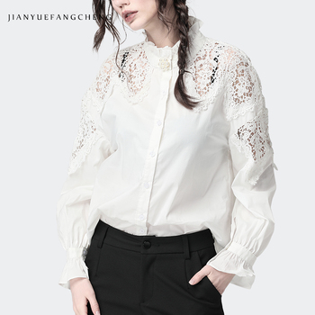 Fashion Women White Blouse Beaded Cotton Top Hollow Out Shoulder Stand Ruffled Collar Long Sleeve Shirts Elegant Office Blouses pink hollow design cold shoulder long sleeves blouses
