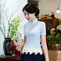 Yeni Varış Yaz kadın Gömlek Çin tarzı Lady Rayon Bluz Tops el yapımı Düğme Mujer Camisa Boyut Sml XL XXL XXXL 105