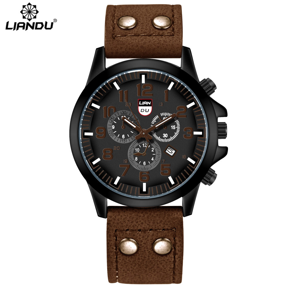 New Fashion Black Quartz Watch Men Military Leather Strap Watches Luxury Brand Casual Relogio Masculino Wristwatches Hours