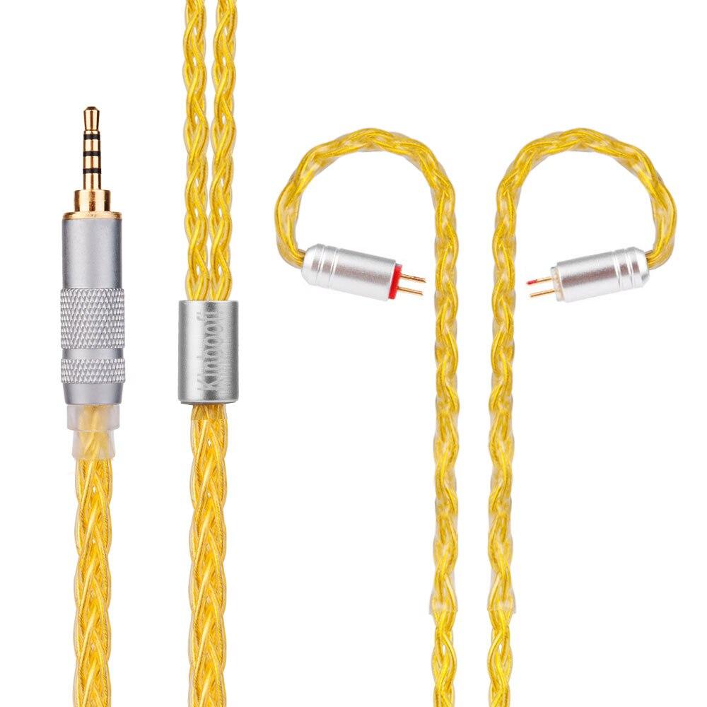 Yinyoo Kinboofi 8 Core Argent Plaqué Câble 3.5/2.5/4.4mm Écouteurs Câble Avec MMCX/2pin Connecteur pour TRN V80/V30 KZ ZST CCA C10