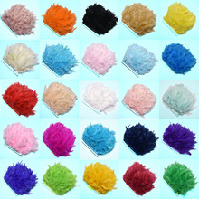2Meterslot colored fluffy Turkey feathers ribbon fringe 10-15cm DIY Dyed feather trim carnival Clothing dress plumes decoration