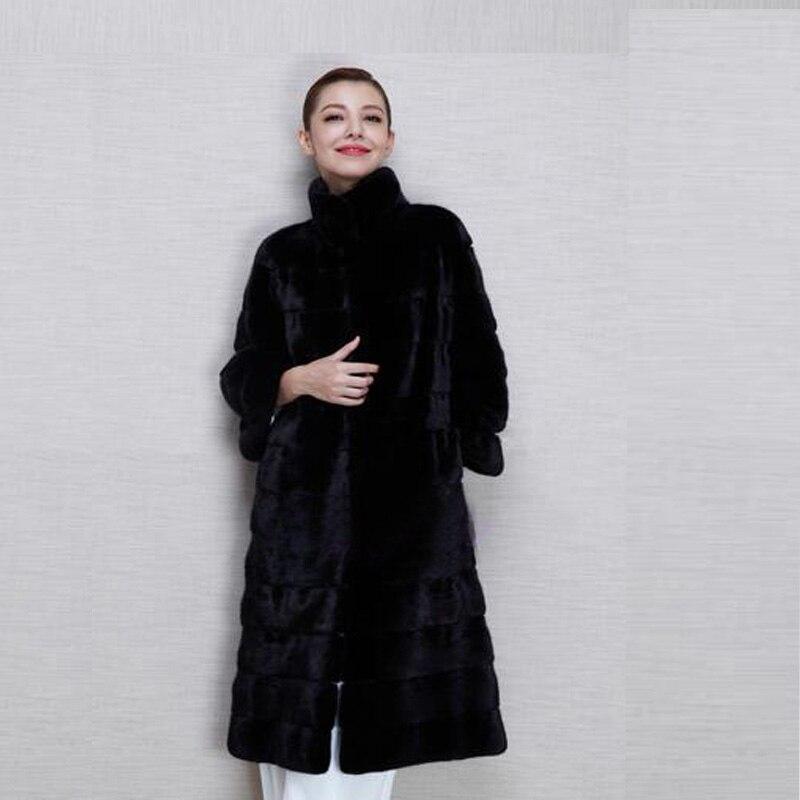 2016 новые зимние женские пиджаки с длинным рукавом норки пальто длинное черное пальто куртки женщин плюс размер s-4xl costumize