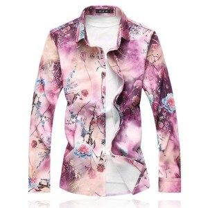 Image 2 - 2020 New Mens Shirts Long Sleeve Loose Turn Down Collar Casual Shirt Men Hot Sale Plus Size Autumn Mens Floral Shirts 7XL 6XL M