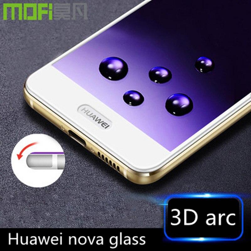 imágenes para Huawei borde curvo de cristal 3d full cover hauwei nova nova vidrio antideslumbrante film protector de pantalla ultra delgada 64 gb caz-al10 huawei