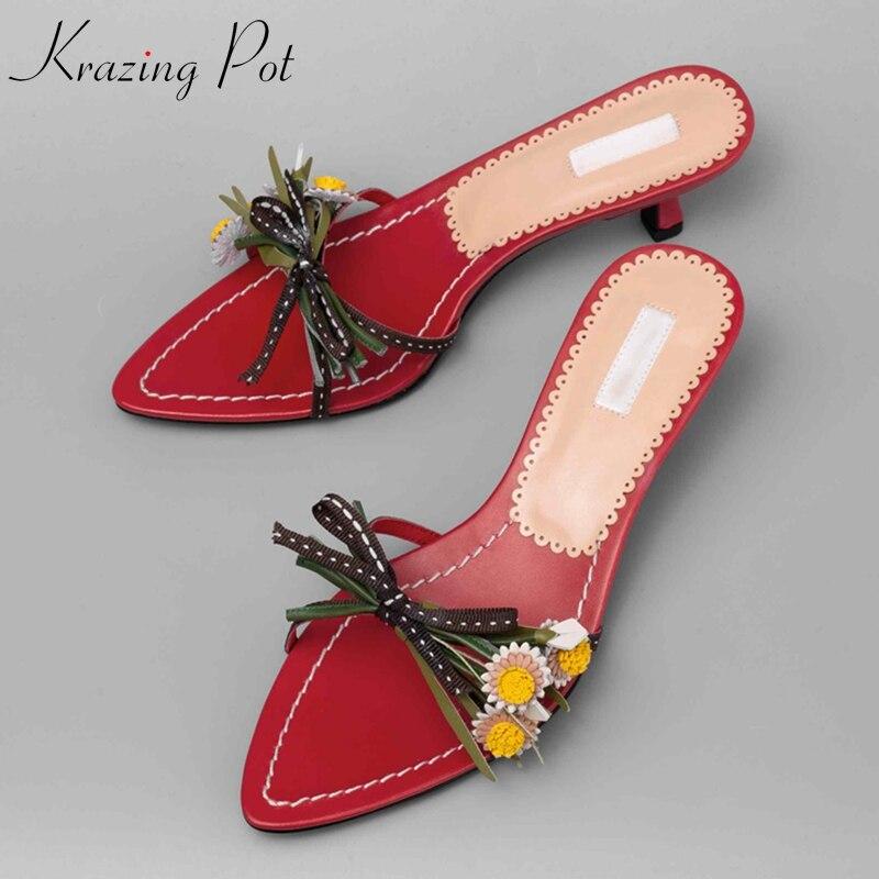 Krazing Pot 2019 genuine leather peep toe superstar flowers appliques elegant fashion chic design flip flop