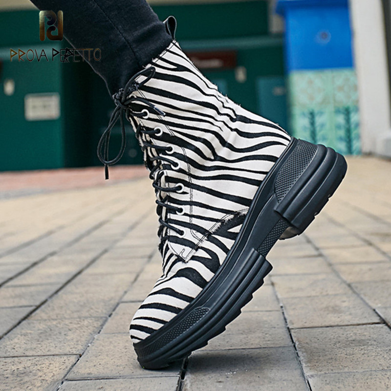 Prova Perfetto Ladies High Quality Horsehair Short Boots Women Corss-tied Winter Ankle Boots Wedge Shoes Woman Motorcycle Boots prova perfetto 2017 winter new styles women short boots high quality 100