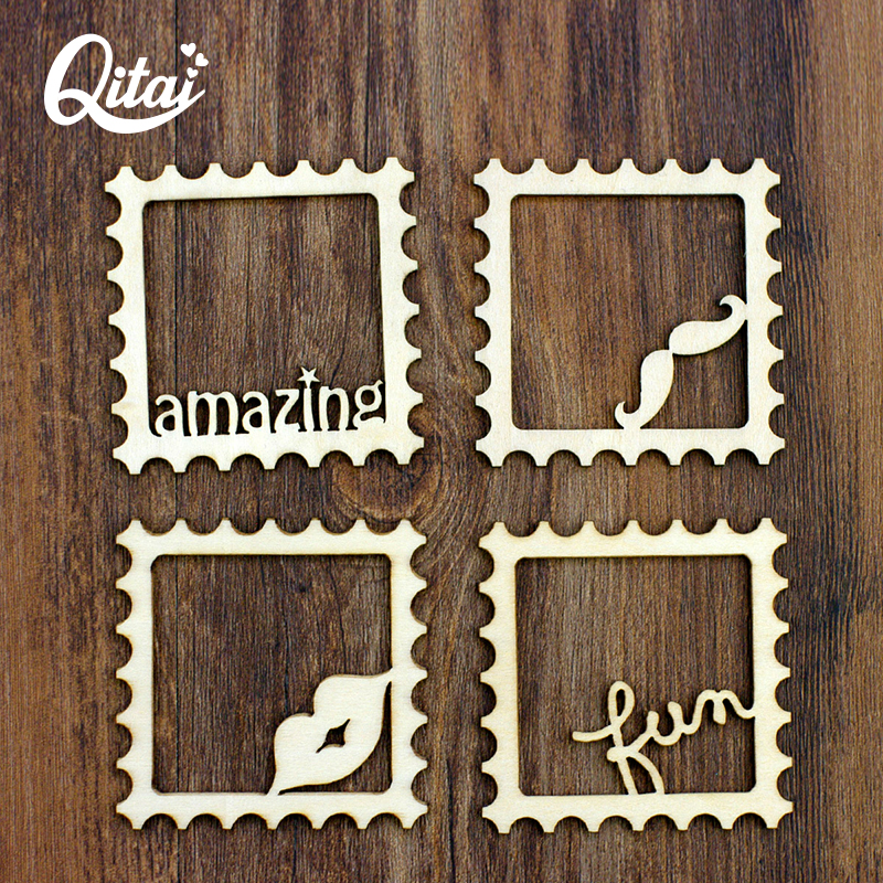 6pcs//set Craft Wooden Card Scrapbooking Photo Frame Ornament Embellishment
