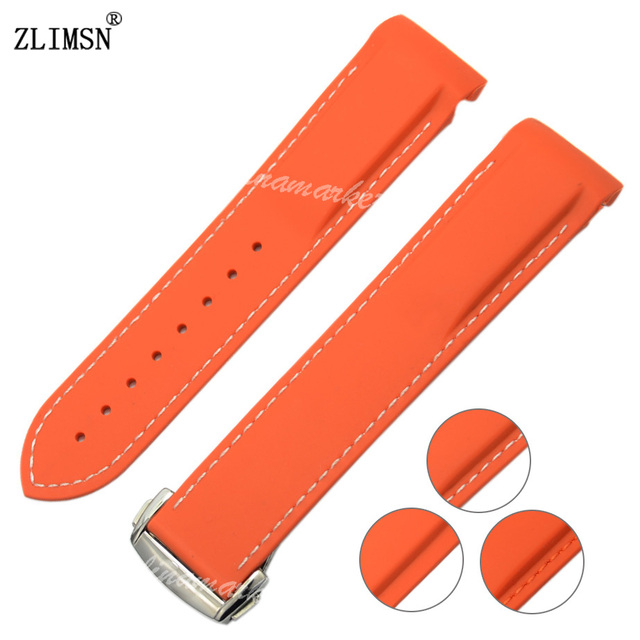 b2b31c6e8aa 22mm NEW Orange Diver Rubber band strap with deployment clasp For  Planet-Ocean